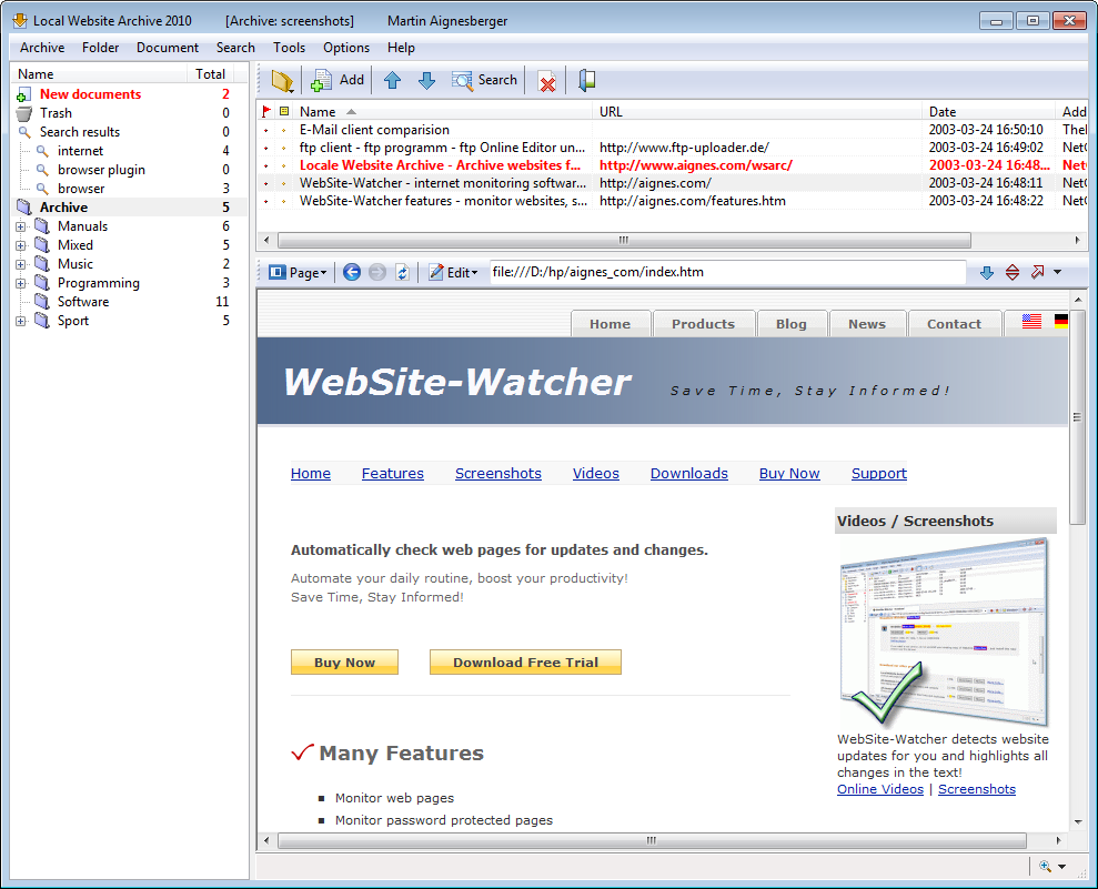 Screenshot vom Programm: Local Website Archive