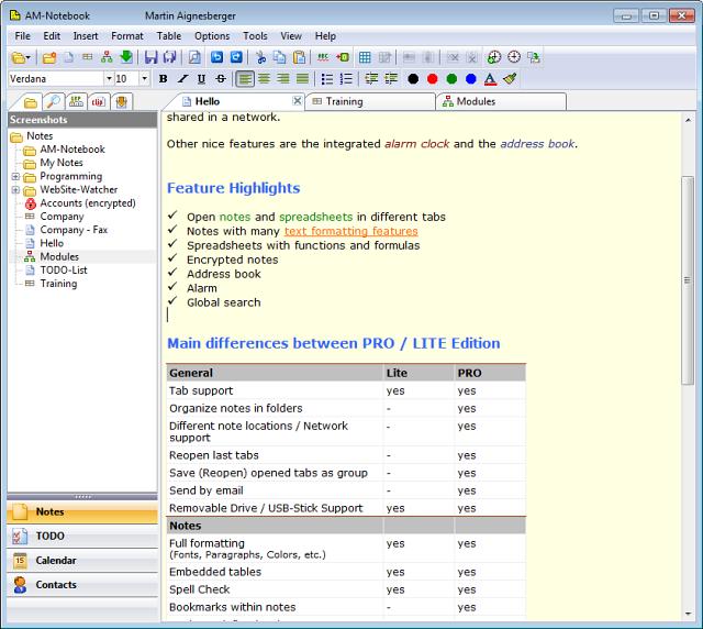 AM-Notebook Pro full screenshot